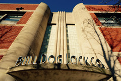 Bull Dog Lock Co (KevinIrvineChi) Tags: bull dog lock co company art deco architecture blue up vertical sony dscrx100 sunny sun letters exterior outdoors outside outdoor building office ravenswood industrial corridor chicago chicagoist curbedchicago brick granite awning entry