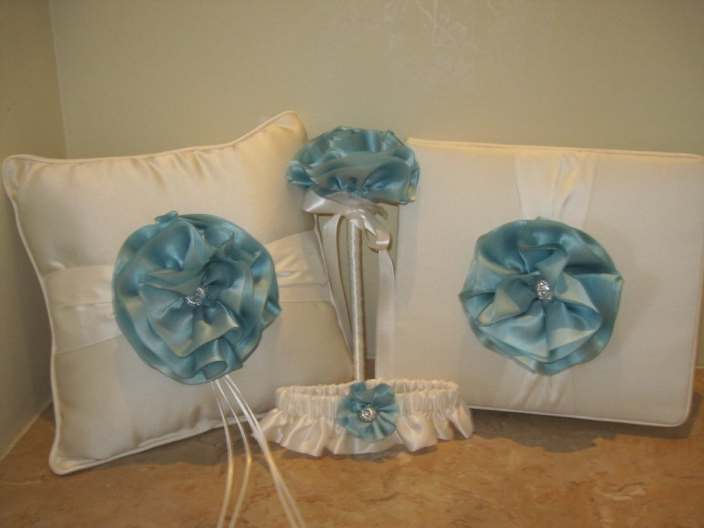 classic couture ringbearer pillow, flower girl basket, guestbook, garter