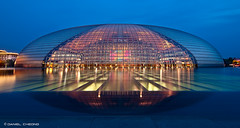 (DanielKHC) Tags: china blue architecture night reflections nikon long exposure dusk centre egg performing arts beijing national hour  dri d300 ncpa  danielcheong danielkhc tokina1116mmf28