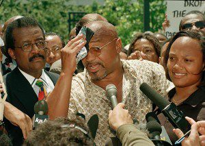 Former Black Panther Party Central Committee member Geronimo Ji Jaga Pratt (center) with Atty. Johnnie Cochran and his daughter upon his release from prison in 1997. Pratt joined the ancestors in Tanzania on June 2, 2011. by Pan-African News Wire File Photos