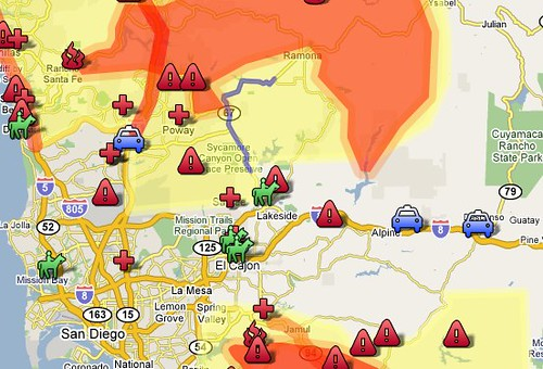 San Diego Fire Perimeter, Evacuation Shelters, Residential Evacuations