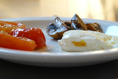 Mini fry up - tiny egg, cherry tomatoes + a few mushrooms!