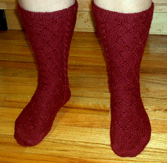 Alpaca Socks in Drops Cable Pattern - Front