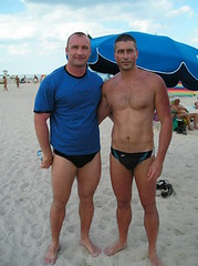 Pascale and Mikael - Two French Guys at the Beach (jrozwado) Tags: shirtless usa man sexy male men feet beach french foot coast toes legs florida muscle hunk barefoot haulover speedo stud virile