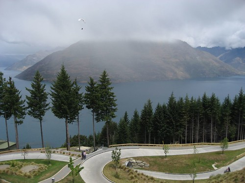 Luge track and paraglider