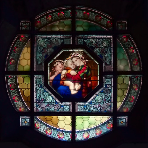 Saint Mary of the Barrens Roman Catholic Church, in Perryville, Missouri, USA - round stained glass window