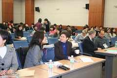 Beth and interpreter at Chung Nam University