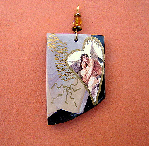 Angels in Love Polymer Clay Pendant