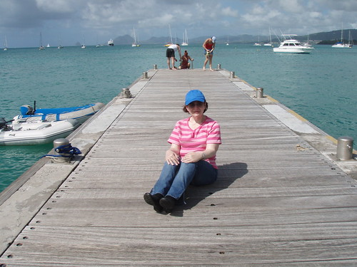 Naomi on the dock in St. Anne, Martinique