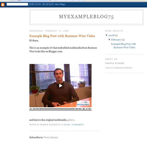 Example weblog post with Company Wire Video
