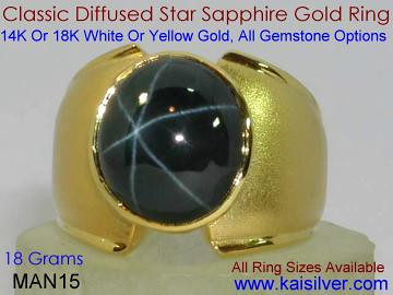 Diffused Star Sapphire Ring For Men
