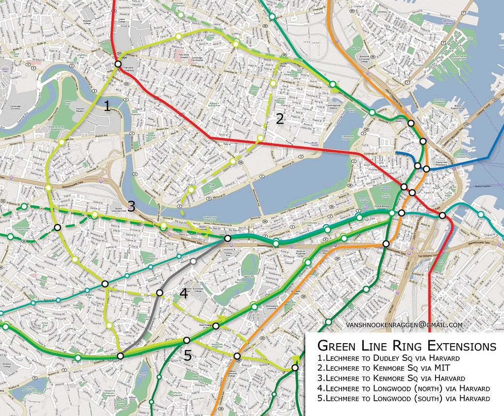 Boston Green Line T Rail Expansion Extensions unoffical proposals