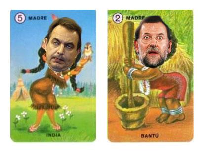 Rajoy y ZP en una baraja de familias