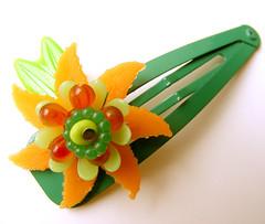 Green and Orange Vintage Flowers Barrette