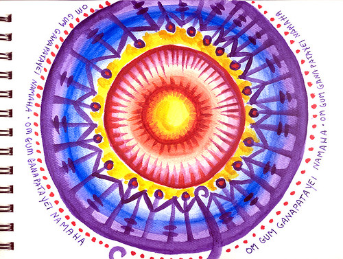 Mandala with Sanskrit Healing Mantra