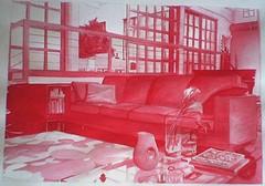 salotto rosso (Elanorya) Tags: 2002 book arte ombre terra rosso divano disegno fuoco scuola salotto acquarello pennelli