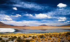 Another Alien Lake (tripowski) Tags: travel blue sky orange cloud sun lake reflection southamerica water grass yellow nikon bright bolivia tamron bold altiplano uyuni d80 fotogezgin