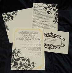 Wedding Invitations - Kristin and Michael (UglyKitty) Tags: black yellow handmade ivory gocco etsy custom scroll alchemy rsvp uglykitty weddinginvitaitons