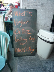 What's higher, Orgiz batting avg. or Mr. B's Age?