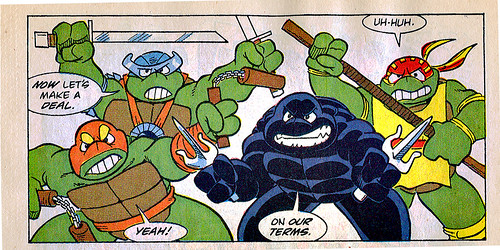 "Teenage Mutant Ninja Turtles Adventures"" #7 .. art by Jim Lawson, Gary Fields, and Barry Grossman [[ weapons back ..::  ]] (( 1989 ))"