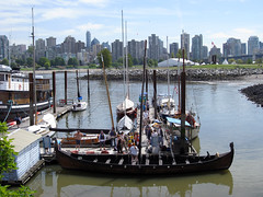 Preparing the Viking boat for a trip (Ruth and Dave) Tags: heritage vancouver boat wooden dock sailing wharf falsecreek viking maritimemuseum moored haddenpark