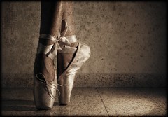 Anxious (stephaniedan) Tags: pink ballet sepia vintage dance ribbons shoes faded stephanie ttv stephaniedan dangoor