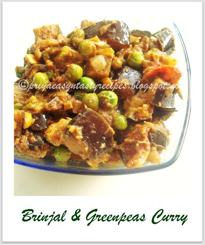 Brinjal & Greenpeas Curry