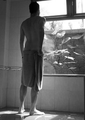 The coolest shower in Vietnam (~amiadS) Tags: blackandwhite man guy me shower vietnam phuquoc villacassia
