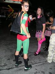 Superhero and schoolgirl - Halloween 2007 (jrozwado) Tags: usa halloween costume florida tights fortlauderdale superhero menintights
