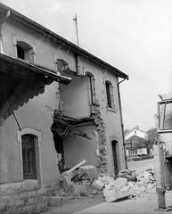 Démolition de la gare d'Orgelet en 1982