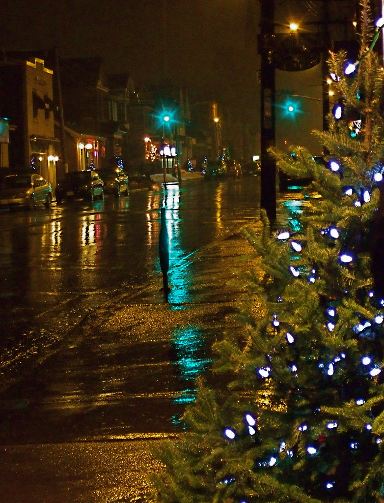 winter, rain, city, christmas