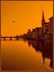 Zrich - right (Katarina 2353) Tags: travel bridge shadow sky orange reflection film church water silhouette buildings river photography switzerland nikon flickr cityscape suisse image swiss silhouettes zrich zurigo katarinastefanovic katarina2353