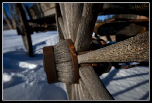 Wagon wheel at Legion Beach Quesnel winter 0001