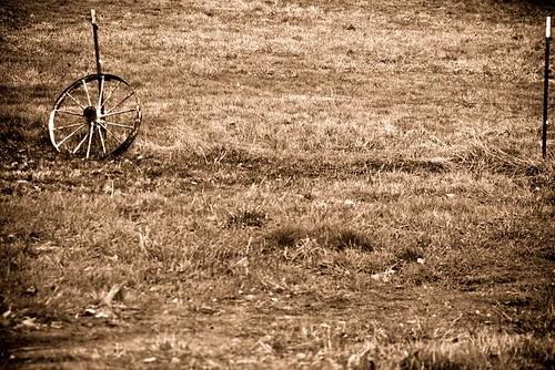 Somewhere A Wagon Is Missing A Wheel - wagon wheel in a field in Stayton Oregon