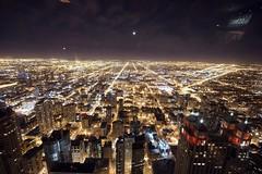 Suburbs on the horizon (Mazda6 (Tor)) Tags: city urban moon chicago streets building lights illinois view metro horizon chitown suburbs hancock