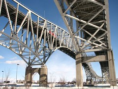 Blue Water Area Bridges to Canada - Port Huron, MI - USA (mdprovost ~ Prosper in 2017) Tags: bridge canada usa michigan ontario porthuron sarnia blue water pont stclairriver river lakehuron lake huron lac family vacation scuba diving snorkel beach beaches party children hking nature fresh sunny summer thomas edison sailing ships photography clubs walleye perch salmon marathon seafood cuisine waterfront property acheson treasure clipper tall sunken boardwalk
