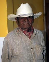 A man in for eye exam at Clinica El Buen Samaritano (terrapinneck) Tags: mexico missiontrip valles tamul xilitla aquismon centralbaptist xolmon prescottmissiontrip