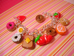 Breakfast Fun Bracelet (acrylicana) Tags: pink white cute cake breakfast cherry bread cookie colours heart bright sweet toast egg jewelry charm dot goods clay donut doughnut kawaii pastry icing sweeties bracelets pastries bun frosting baked glazed polymer acrylicana