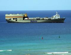 Shipping coming in to Honolulu Harbor (colleeninhawaii) Tags: port hawaii boat pacific oahu cargo honolulu shipping matson