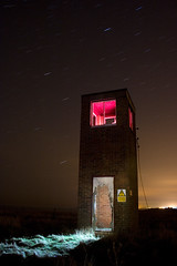 The Watch Tower (RobSalmon) Tags: light red england hairy tower abandoned robert sign night danger digital canon sketchy painting army photography 350d star coast long exposure natural top yorkshire flash watch north salmon trails rusty next storage rob led east erosion torch ladder rolston sodium base vapour britian sullivans hornsea gelled clidd hairyrob