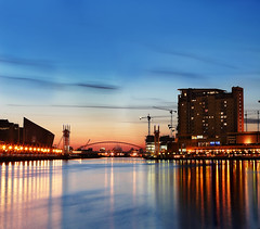 Salford Quays, Manchester, UK (Vertorama) (i.rashid007) Tags: uk urban lake water beautiful modern night reflections wonderful landscape manchester evening interesting nightshot good great salfordquays clear salford lowry lowryfootbridge top20manchester