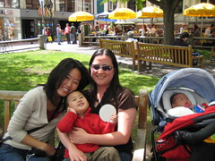The aunties and babies at Harvard Square