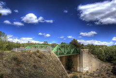 Big Sandy Draw Bridge (Thad Roan - Bridgepix) Tags: bridge blue trees sky green clouds colorado steel historic pony span hdr truss chaffeecounty photomatix 200805 johnsonvillage bigsandydraw