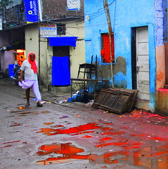 ... and the streets were washed with blood (... Arjun) Tags: road bear street city morning blue red 15fav india streets colour film topf25 stain festival 1025fav 510fav sunrise reflections shower dawn blood nikon bath asia boulevard indian coat tint 100v10f clean shampoo wash 2550fav lane bombay be bathe were metropolis maharashtra washed d200 noise mumbai avenue 2008 sweep colouring carry sluice sahar daybreak rinse swab coating 800iso washdown 22mm cleanse ganeshchaturthi launder 18200mmf3556g bluelist suffusion spongedown