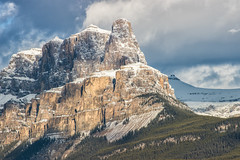 Craggy Castle Mountain (Kristin Repsher) Tags: alberta banff banffnationalpark bowriver canada canadianrockies castlemountain clouds d750 goldenhour morning mountains nikon rockies rockymountains sunrise