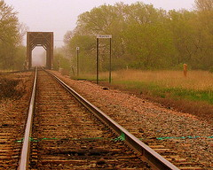 Misty day on the tracks...   :) (**Ms Judi**) Tags: bridge trees sky green beautiful rain misty wisconsin midwest tracks peaceful explore rails serene trainbridge railroadtracks riverbridge explored msjudi mywinners peshtigowisconsin judistevenson judystevenson judippc mistydayonthetracks