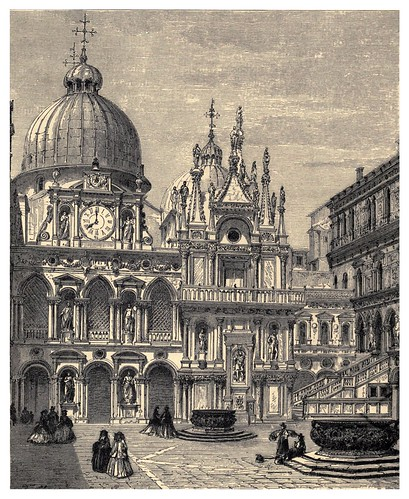 027-Patio del palacio del Dogo de Venecia-Italian pictures drawn with pen and pencil 1878