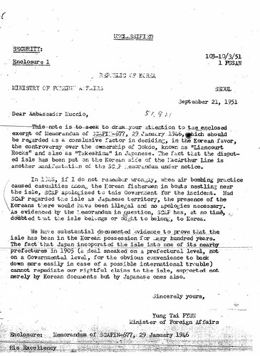 1951 0921 Transmittal of letter from Minister of Foreign Affairs of Korean Claim to Dokdo Island
