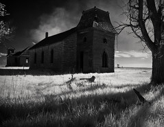 Swing Low (Rodney Harvey) Tags: blackandwhite abandoned church dark eerie spooky mysterious infrared kansas schoolhouse praire stonechurch russelcountykansas