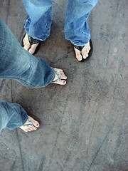 Untitled (Moving Castle Photography) Tags: street pink boy love feet beach girl fun outside toes different nail polish jeans together flip flops rough pismo relationships webbed